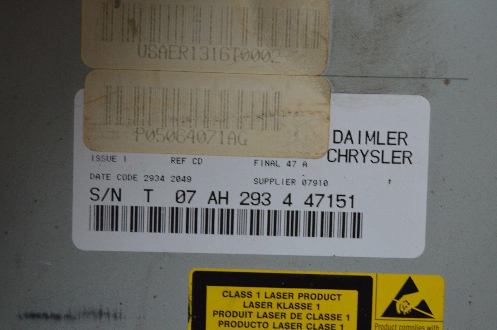 2004-2010 CHRYSLER 300 RADIO CD PLAYER OEM RADIO P05064071AG OEM G53#023 image 5