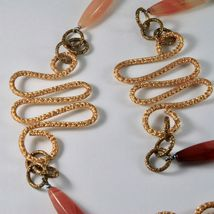 Necklace the Aluminium Gold & Burnished with Agate Orange Long 95 CM image 3