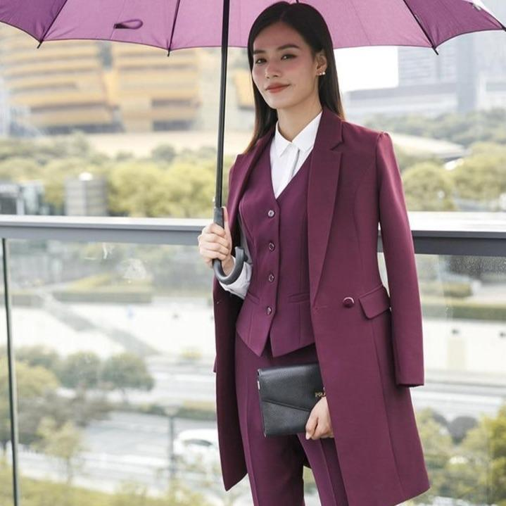Ty fabric 2018 fall winter women blazers suits uniform designs business ladies office suits with