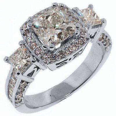 3 5 Carat Womens 3 Stone Diamond Anniversary Halo Ring