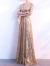 Women Long Sequin Dress Outfit Half Sleeve Wedding Gold Sequin Dress Plus Size image 3