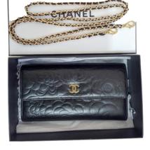 CHANEL Camellia Black/Gold Long Flap Clutch WOC Crossbody Bag  - $685.00