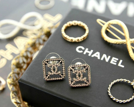 Authentic Chanel CHANEL 2017 Large Crystal CC Logo Square Earrings -Gorgeous!
