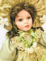 Vintage Beautiful Porcelain Doll Green Dress Victorian Style - $37.89