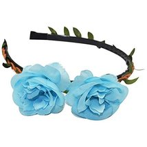 3 Pcs Beach Blue Peony Hair Accessories Woven Cloth Hair Bands Headdress - $30.83