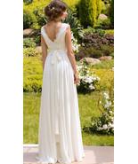 White V-Neck Beach Wedding Dress Chiffon Bohemian Wedding Gowns A Line W... - $159.66