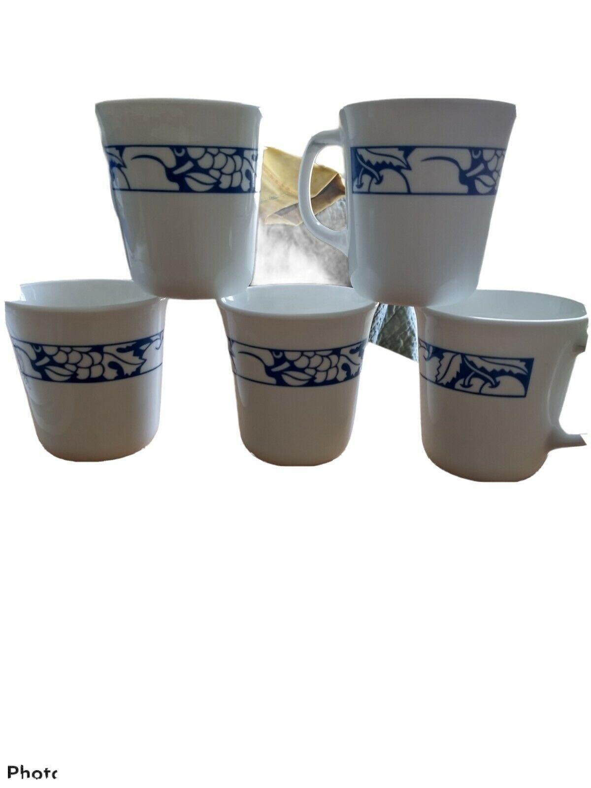 Corning Mug Harvest Time White Blue Rim Fruit Snd Leaves Lot Of Five - $24.74