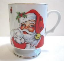 "Lefton 1984 Christmas Santa Claus Pedestal Coffee Tea Mug Gold Trim 3 7/8"" - $12.82"