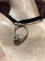 Vintage Argento Bronzo Repose Dragone Serpente Amuleto Collana con Ciondolo - $64.39