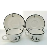 VTG TWO H. F. COORS Coffee Tea Cups Mugs With Saucers NINE QUARTER CIRCL... - $45.00