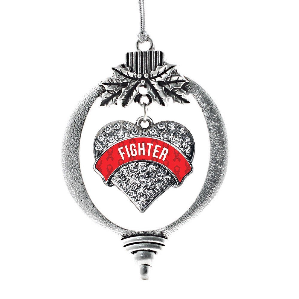 Primary image for Inspired Silver Red Fighter Pave Heart Holiday Ornament