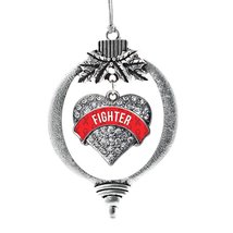Inspired Silver Red Fighter Pave Heart Holiday Ornament - $14.69