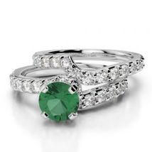 Sterling Silver Solid 2Ct Round Emerald & Sim Diamond Bridal Wedding Ring Set  - $120.00