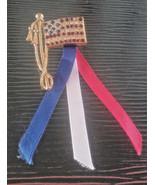 Vintage USA American Flag Rhinestone Gold Tone Red White Blue Ribbons Pi... - $4.75