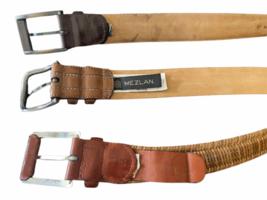 Lot of 3 Men Leather Belt Size 44 Mezlan Tommy Bahama Made in Spain Brown 4929 image 3
