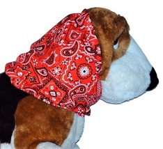Red Paisley Bandana Print Cotton Dog Snood by Howlin Hounds Size Puppy R... - $10.50