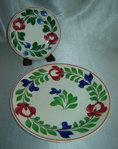 "Antique Staffordshire ADAMS ROSE Hand Painted 9"" Dinner Plate & 6"" Saucer Set - $19.50"