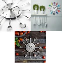 Home Decoration Wall Clock Cutlery Metal Spoon Fork Creative Quartz For ... - $22.55+