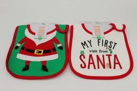 CARTER'S INFANTS  Baby CHRISTMAS TEETHING BIB 2pack Santa - $8.41