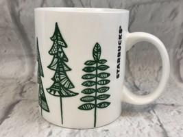 Starbucks 2015 White Ceramic Coffee Mug Green Trees Collectible - $9.50