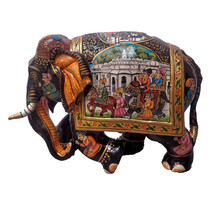 Wood Painted Elephant Home Decorative Elephant Height 6.5 Inches - $100.00