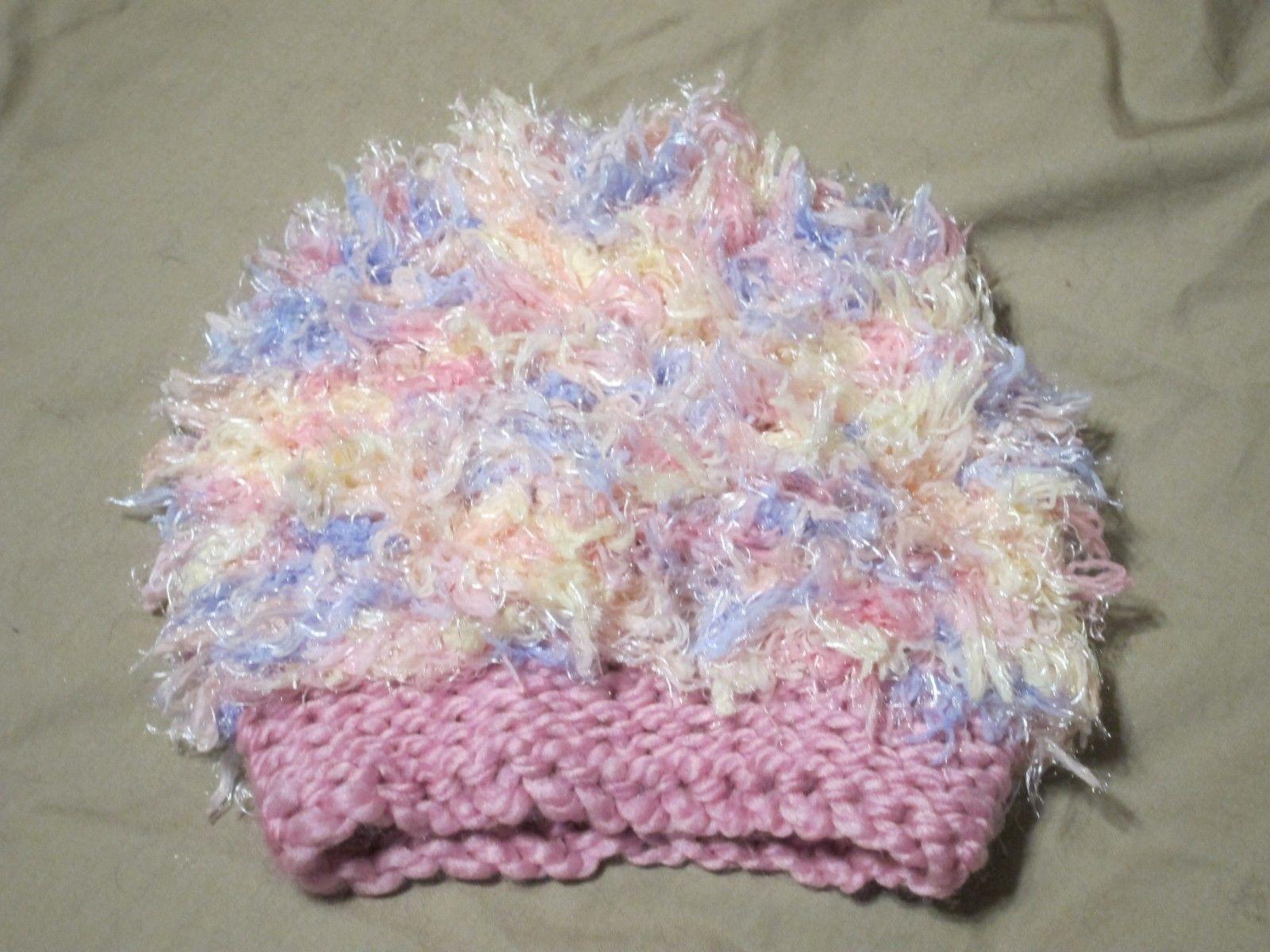 Handmade Knitted Pink Fuzzy Infant Winter Hat Cap CUTE