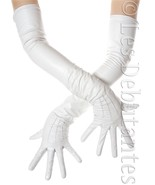 WHITE LEATHER LONG OPERA GLOVES LES DEBUTANTES WEDDING BRIDAL 60 CMS - $52.99