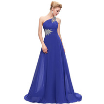 Cheap Women's One Shoulder Long Prom Dresses Long Party Dresses Beaded Dress - $99.99