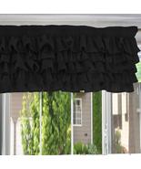 Chiffon BLACK Ruffle Layered Window Valance any size - $29.99+
