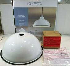 Quoizel Lockesburg Gloss White and Matte Black Farmhouse Dome Pendant Light - $51.25