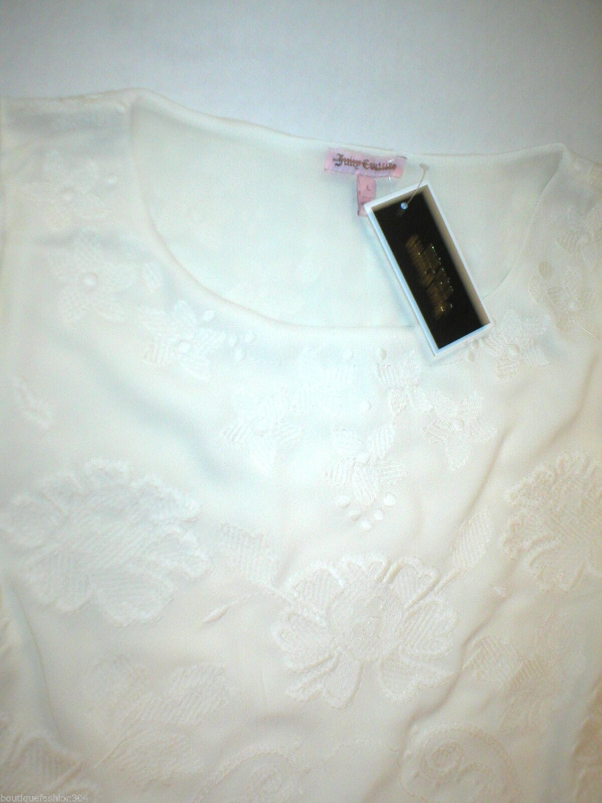 New $298 Juicy Couture Dress Short Womens L NWT Off White Embroider Texture Bell