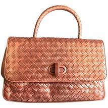 Vintage Bottega Veneta bronze intrecciato woven leather handbag purse with turn- - $520.00
