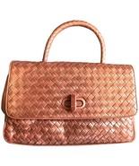 Vintage Bottega Veneta bronze intrecciato woven leather handbag purse wi... - $520.00
