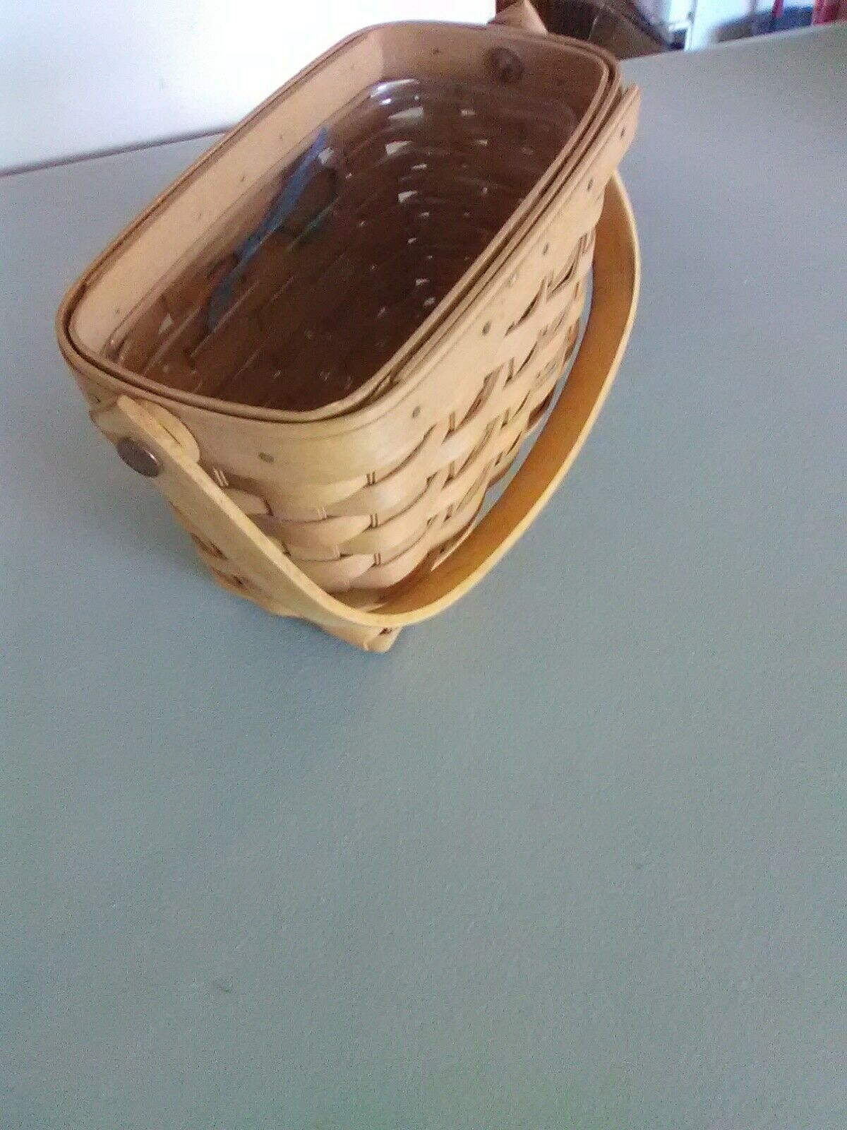 1996 Edition Longaberger Swing Handle Dresden Tour Basket w/ Plastic Liner image 3