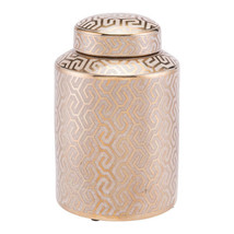 "7.7"" X 7.7"" X 11.8"" Gold And White Ceramic Covered Jar - $48.18"