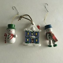 """Christmas Ornament 3"""" Snowmen and House Set of 3 Holiday Accessories - $11.63"""