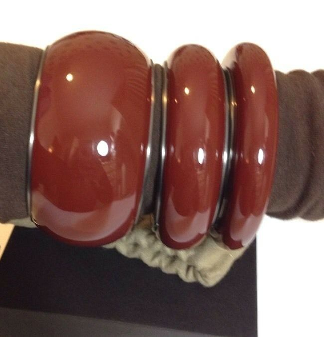 Bottega Veneta Oxydé Argent Bracelet Marron Rouge Taille S