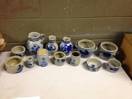 13 pcs of Wisconsin Dusseldorf Unknown Salt Glazed Pottery Blue Cobalt P... - $144.93