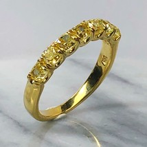 Cushion Cut Yellow 7 Stone Diamond 1.44 Ct Wedding Band Ring 18k Yellow ... - £2,295.54 GBP