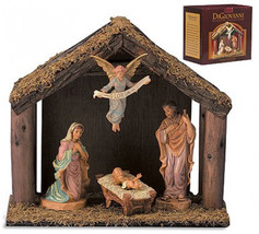 1pc 4-Pc Nativity Set With Wood Stable - $148.70