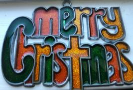 Vintage Merry Christmas Suncatcher Ornament Green Yellow Orange Glittery - $9.89