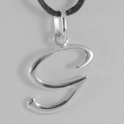 PENDANT WHITE GOLD 18K WITH INITIAL G LETTER G GLOSSY 2,5 CM WITH CORD