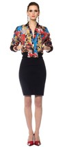 CATHERINE MALANDRINO Bomber MULTI Color JACKET 80's Inspired GEORGETTE S... - $299.97