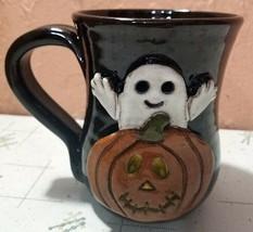 Ghost Pumpkin 3D Stoneware Coffee Mug Cup Halloween Black  - $19.80