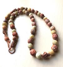 Soapstone necklace, Carved Beaded Necklace, Carved Soapstone Necklace - $42.00