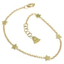 Armband Gelbgold oder Weiß 750 18K, 17 cm, Sterne Flach, Kette Rolo - $181.22