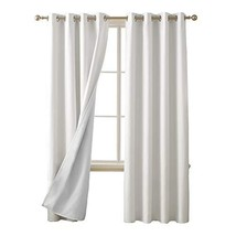 Deconovo Total White Blackout Curtains with 3 Pass Energy Efficient Ther... - $41.73