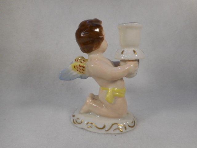 "Vintage Hand Painted 3 1/4"" Kneeling Porcelain Angel Cherub Figurine"