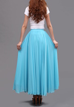 AQUA BLUE Long Chiffon Skirt High Waisted Full Circle Wedding Bridesmaid Skirt image 9
