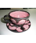 Damariscotta Pottery Cup & Saucer Black Pink Amoeba Design Hand-thrown - $24.99
